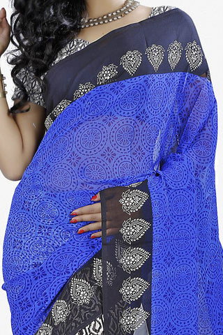 Designer Saree:atisundar divine Designer Saree in Faux Georgette in Blue And Grey  - 11700 - atisundar - 2