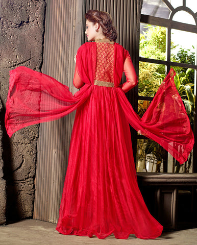 Designer Gowns!:atisundar pretty Soft Net Designer Partywear Gowns in Red - 7202 - atisundar - 4