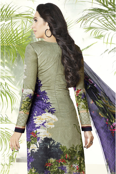 Designer Straight Cut:atisundar wonderful Grey Embroidered Designer Semi Stitched Straight Cut In Pure Cotton - 14391 - click to zoom