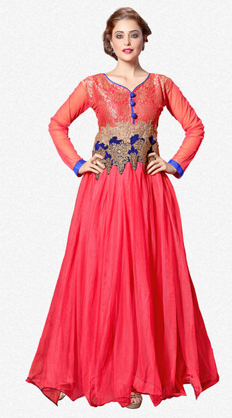 Designer Gowns!:atisundar Charismatic Soft Net Designer Partywear Gowns in Pink - 7204 - click to zoom
