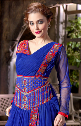 Designer Gowns!:atisundar Beautiful Soft Net Designer Partywear Gowns in Blue - 7205 - atisundar - 4
