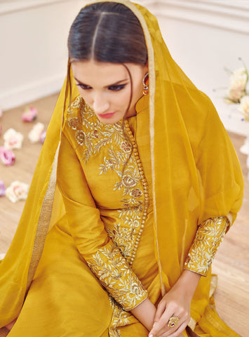 Designer Embroidered Straight Cut Suit:atisundar stunning Yellow Designer Straight Cut Embroidered Suits - 9648 - atisundar - 3 - click to zoom