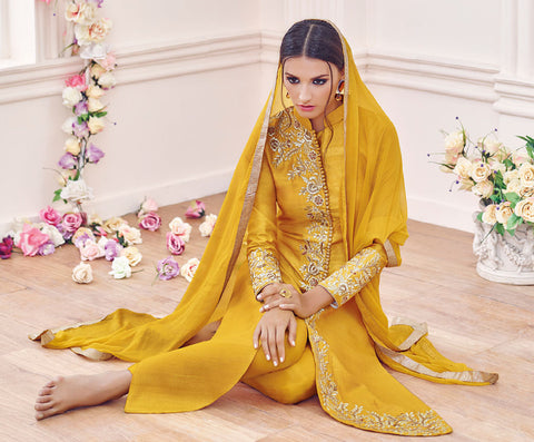 Designer Embroidered Straight Cut Suit:atisundar stunning Yellow Designer Straight Cut Embroidered Suits - 9648 - atisundar - 4 - click to zoom