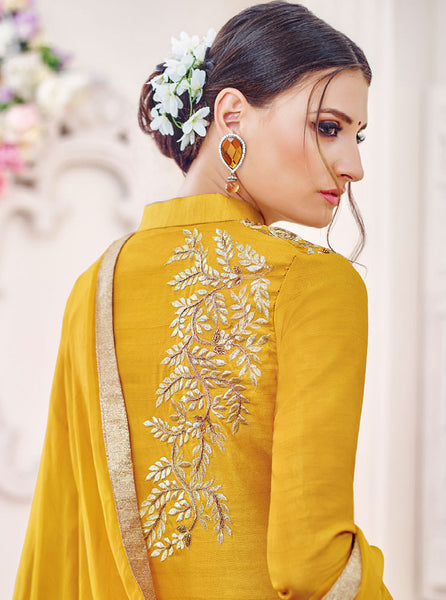 Designer Embroidered Straight Cut Suit:atisundar stunning Yellow Designer Straight Cut Embroidered Suits - 9648 - atisundar - 5 - click to zoom