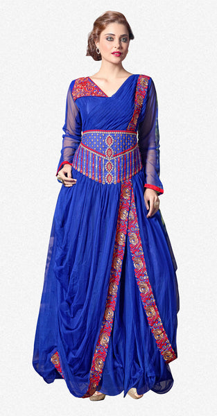 Designer Gowns!:atisundar Beautiful Soft Net Designer Partywear Gowns in Blue - 7205 - click to zoom