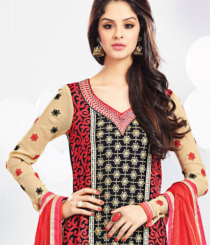 Embroidered Party Wear Straight Cut Suit:atisundar pretty Red And Black Designer Straight Cut  - 7018 - atisundar - 5