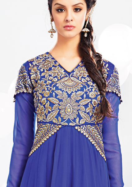 Embroidered Party Wear Anarkali:atisundar resplendent Blue embroidered Party Wear Anarkali - 7014 - atisundar - 5 - click to zoom