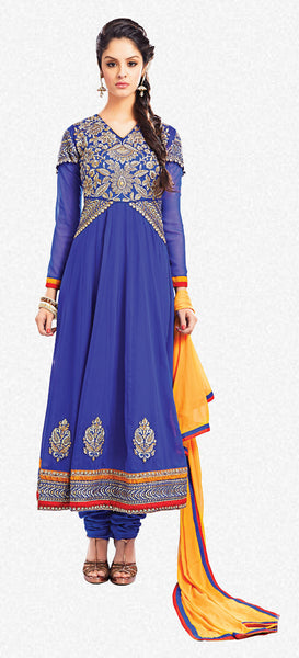Embroidered Party Wear Anarkali:atisundar resplendent Blue embroidered Party Wear Anarkali - 7014 - atisundar - 2 - click to zoom