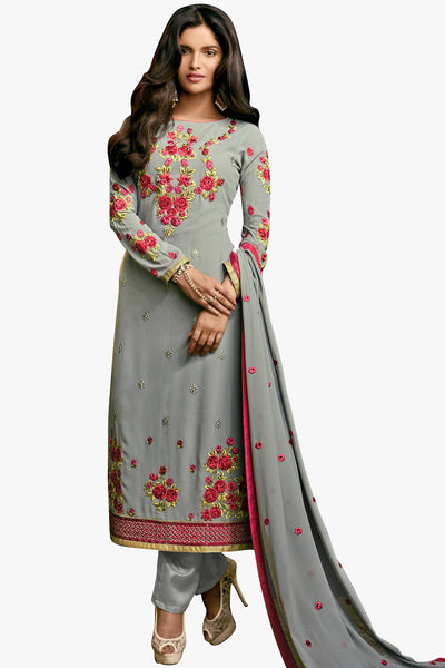 Designer Straight Cut:atisundar Smart Grey Designer Embroidered Party Wear Straight Cut In Faux Georgette - 11895 - atisundar - 1 - click to zoom