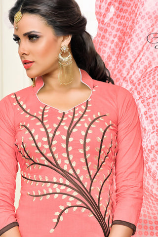 Designer Straight Cut:atisundar exquisite Light Pink Designer Straight Cut Suit In Chanderi Cotton - 10483 - atisundar - 6