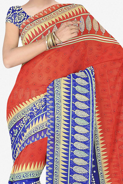 Designer Saree:atisundar excellent Designer Saree in Faux Georgette in Red And Blue  - 11703 - click to zoom