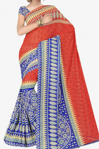 Designer Saree:atisundar excellent Designer Saree in Faux Georgette in Red And Blue  - 11703 - atisundar - 1 - click to zoom