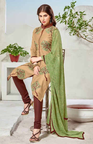 Designer Embroidered Straight Cut Suit:atisundar beauteous Beige Embroidered Straight Cut in Chanderi - 9761 - atisundar - 3 - click to zoom