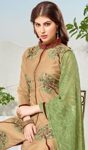 Designer Embroidered Straight Cut Suit:atisundar beauteous Beige Embroidered Straight Cut in Chanderi - 9761 - atisundar - 4 - click to zoom