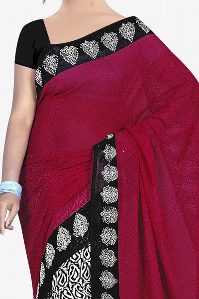 Designer Saree:atisundar pretty Designer Saree in Faux Georgette in Pink And Black  - 11706 - click to zoom