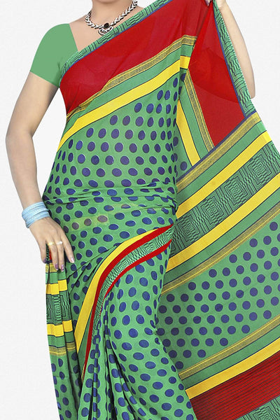 Designer Saree:atisundar lovely Designer Saree in Faux Georgette in Turquoise  - 11707 - click to zoom