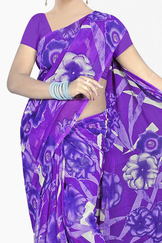 Designer Saree:atisundar delicate Designer Saree in Faux Georgette in Purple  - 11712 - atisundar - 2