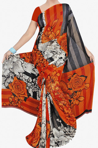 Designer Saree:atisundar pretty Designer Saree in Faux Georgette in Orange  - 11713 - atisundar - 1 - click to zoom