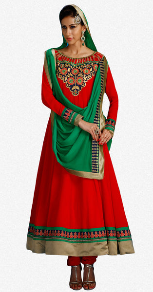 Designer Embroidered Partywear Anarkali:atisundar Smart Red Designer Embroidered Party Wear Ready to Stitch Anarkali - 6439 - atisundar - 2 - click to zoom