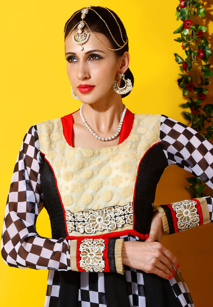 Designer Embroidered Party Wear Anarkali in Faux Georgette:atisundar beauteous Black And White Designer Embroidered Party Wear Ready to Stitch Anarkali - 6440 - atisundar - 4 - click to zoom
