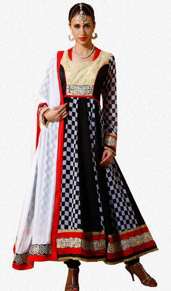 Designer Embroidered Party Wear Anarkali in Faux Georgette:atisundar beauteous Black And White Designer Embroidered Party Wear Ready to Stitch Anarkali - 6440 - atisundar - 2 - click to zoom