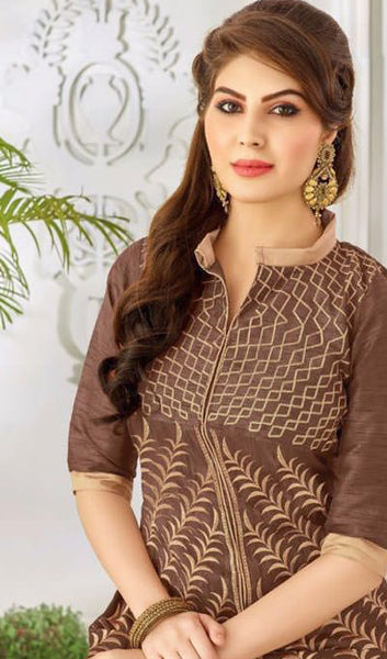 Designer Embroidered Straight Cut Suit:atisundar Superb Brown Embroidered Straight Cut in Chanderi - 9768 - atisundar - 2 - click to zoom
