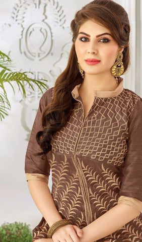 Designer Embroidered Straight Cut Suit:atisundar Superb Brown Embroidered Straight Cut in Chanderi - 9768 - atisundar - 2