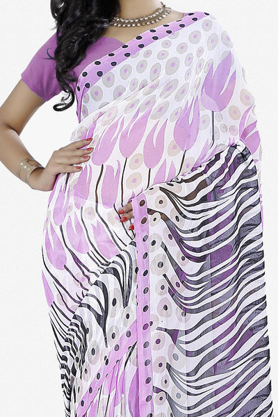 Designer Saree:atisundar Great Designer Saree in Faux Georgette in White  - 11718 - click to zoom