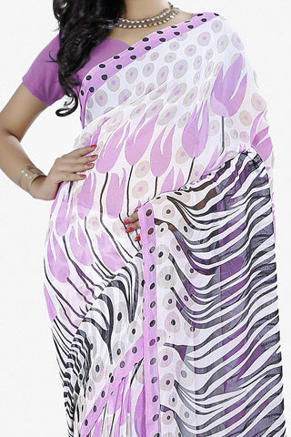 Designer Saree:atisundar Great Designer Saree in Faux Georgette in White  - 11718 - atisundar - 2 - click to zoom