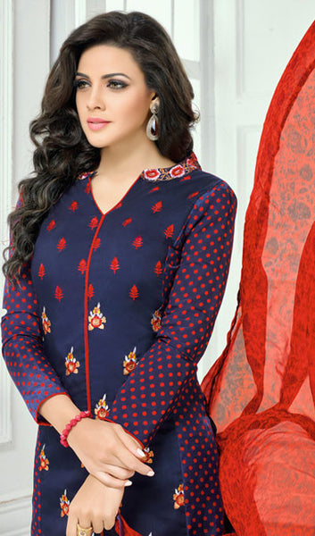 Designer Straight Cut:atisundar magnificent Blue Designer Straight Cut Suit In Chanderi Cotton - 10194 - atisundar - 4 - click to zoom