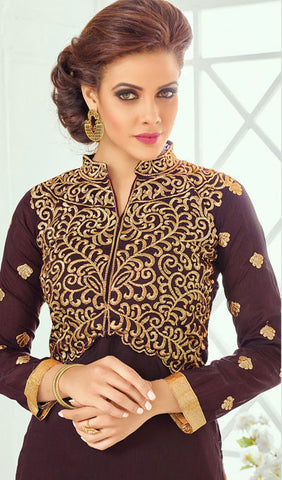 Designer Straight Cut:atisundar pretty Brown Designer Straight Cut Suit In Chanderi Cotton - 10199 - atisundar - 4