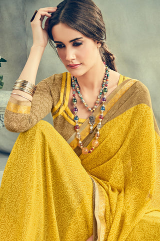 Gorgeous Georgette Printed Saree With Blouse:atisundar Smart Printed Designer Saree with Border in Mustard Yellow  - 15385