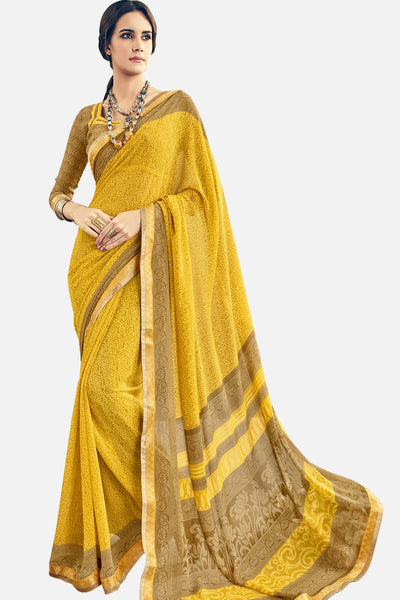 Gorgeous Georgette Printed Saree With Blouse:atisundar Smart Printed Designer Saree with Border in Mustard Yellow  - 15385 - click to zoom
