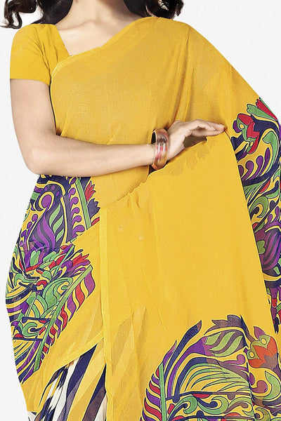 Designer Saree:atisundar superb Designer Saree in Faux Georgette in Yellow  - 11721 - click to zoom