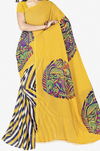 Designer Saree:atisundar superb Designer Saree in Faux Georgette in Yellow  - 11721 - atisundar - 1 - click to zoom