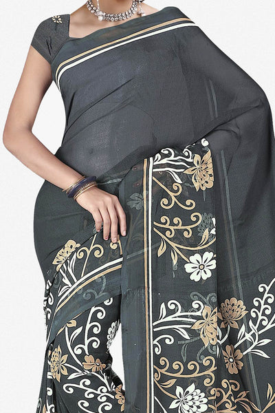 Designer Saree:atisundar fair Designer Saree in Faux Georgette in Grey  - 11722 - click to zoom