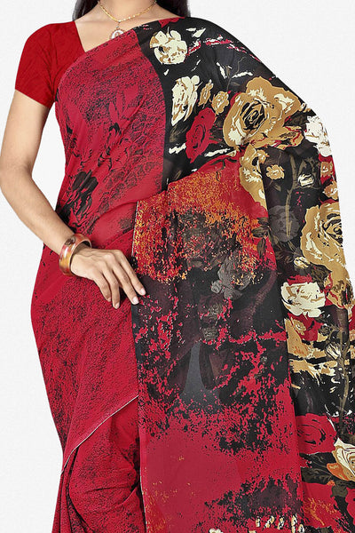 Designer Saree:atisundar cute Designer Saree in Faux Georgette in Red  - 11723 - click to zoom