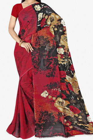 Designer Saree:atisundar cute Designer Saree in Faux Georgette in Red  - 11723 - atisundar - 1 - click to zoom