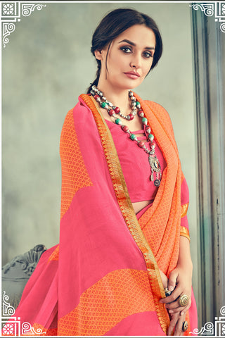 Gorgeous Georgette Printed Saree With Blouse:atisundar Beautiful Printed Designer Saree with Border in Orange  - 15388