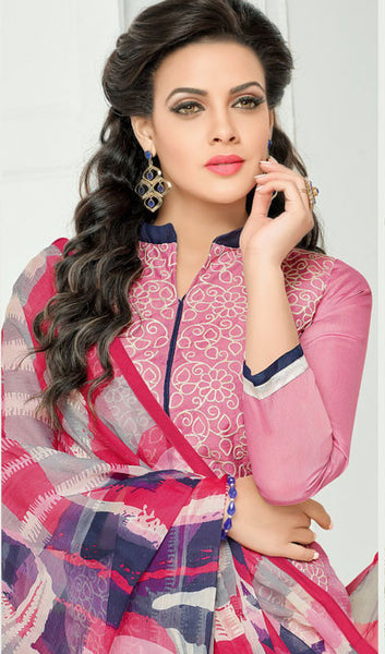 Designer Straight Cut:atisundar magnificent Pink Designer Straight Cut Suit In Chanderi Cotton - 10203 - atisundar - 4 - click to zoom