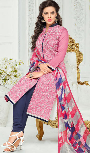 Designer Straight Cut:atisundar magnificent Pink Designer Straight Cut Suit In Chanderi Cotton - 10203 - atisundar - 2 - click to zoom