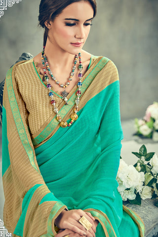 Gorgeous Georgette Printed Saree With Blouse:atisundar radiant Printed Designer Saree with Border in Turquoise  - 15389