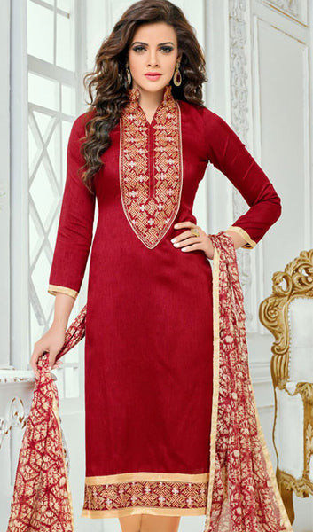 Designer Straight Cut:atisundar admirable Red Designer Straight Cut Suit In Chanderi Cotton - 10204 - atisundar - 2 - click to zoom