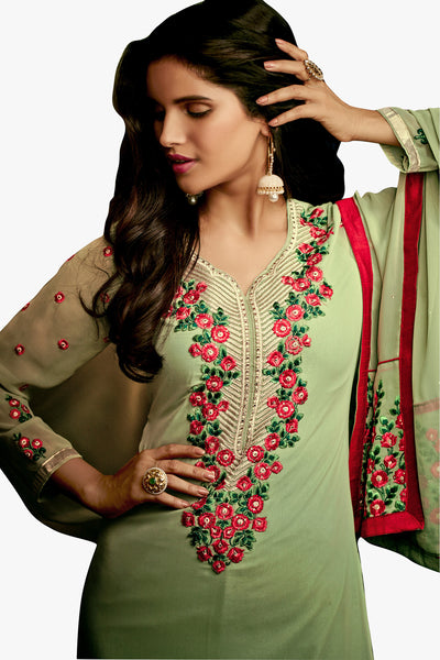 Designer Straight Cut:atisundar resplendent Green Designer Embroidered Party Wear Straight Cut In Faux Georgette - 11900 - click to zoom
