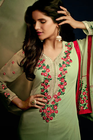 Designer Straight Cut:atisundar resplendent Green Designer Embroidered Party Wear Straight Cut In Faux Georgette - 11900 - atisundar - 4 - click to zoom
