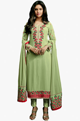 Designer Straight Cut:atisundar resplendent Green Designer Embroidered Party Wear Straight Cut In Faux Georgette - 11900 - atisundar - 1 - click to zoom