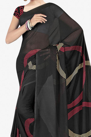 Designer Saree:atisundar Great Designer Saree in Faux Georgette in Black  - 11724 - atisundar - 2