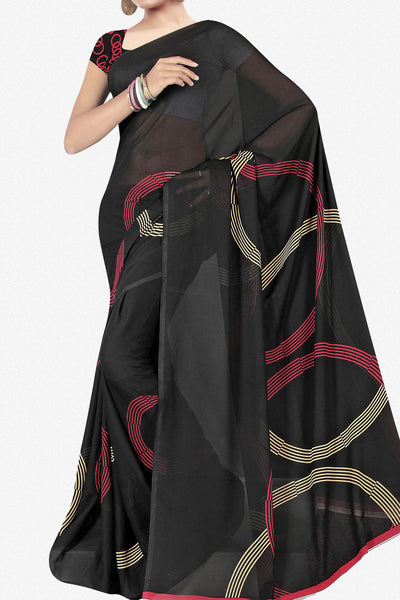 Designer Saree:atisundar Great Designer Saree in Faux Georgette in Black  - 11724 - atisundar - 1 - click to zoom