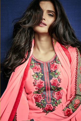 Designer Straight Cut:atisundar Charismatic Light Pink Designer Embroidered Party Wear Straight Cut In Faux Georgette - 11901 - atisundar - 6