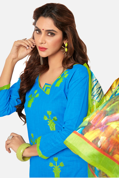 Designer Straight Cut Suit With Digital Print Dupatta:atisundar delightful Blue Designer unstitched embroidered straight cut suits - 14689 - click to zoom